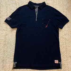 Nautica A Bit Trimmer Navy Blue Polo Shirt Large L
